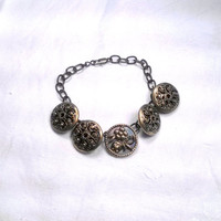 Antique Vintage Mirror Back Button Bracelet Brass Hollywood Glam