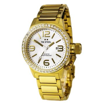 TW Steel TW310 Women's Canteen White MOP Dial Yellow Gold Steel Swarovski Crystal Watch