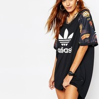adidas Originals Rita Ora Cut Out T-Shirt Dress With Trefoil Logo In Multi Print