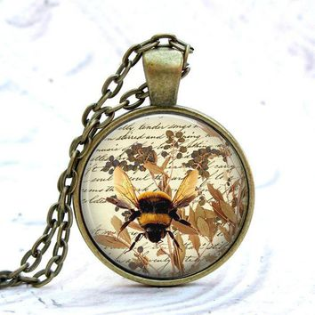 Bumble Bee Necklace - Honey Bee Necklace - Bee Jewelry  - Brass Bee Necklace
