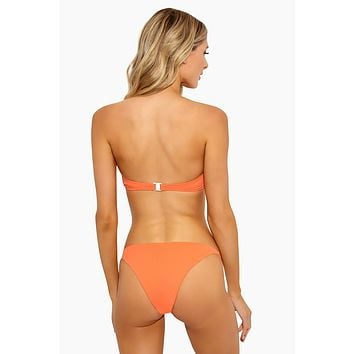 Rochelle Thin Side Strap Bikini Bottom - Sunrise Orange