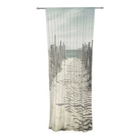 "Jillian Audrey ""Welcome to the Beach"" Brown Gray Sheer Curtain - Outlet Item"