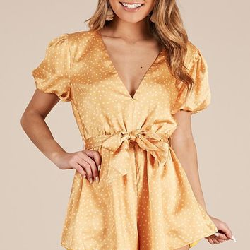 Hello Its Me Playsuit In Mango Spot Satin Produced By SHOWPO