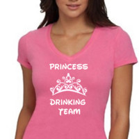 Disney Princess Drinking Team /  Womens T-Shirt V Neck / Multi Color Choices / Disney Vacation / Disney Trip