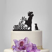 Funny wedding cake topper, monogram cake topper, Mr and Mrs cake topper, groom and bride silhouette cake topper, personalize last name