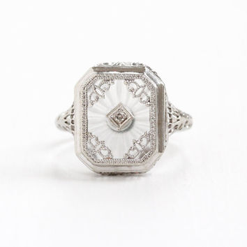 Antique 14k White Gold Rock Crystal Quartz & Diamond Ring - Size 7 Art Deco 1920s Filigree Rare Camphor Glass Style White Gem Fine Jewelry