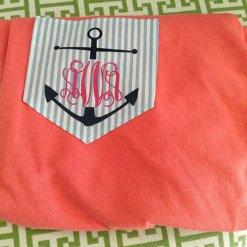 SHORT SLEEVE Seersucker Anchor Pocket T-Shirt Women's Monogram