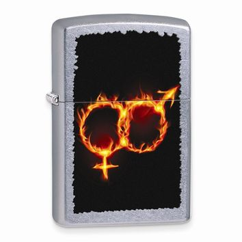 Zippo Man Woman Fire Street Chrome Lighter - Engravable Personalized Gift Item
