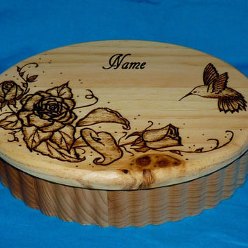 Decorative Wooden Jewelry Box Wood Burned Jewelry Chest Hummingbird Engraved Jewelry Storage Gift Personalized Keepsake Box Wood Gifts