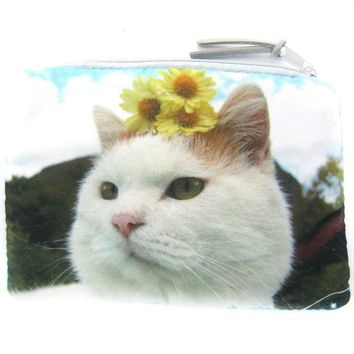 Kitty Cat and Sunflowers Digital Photo Print Animal Coin Purse Make Up Bag