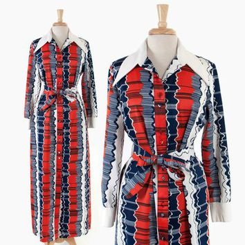 Vintage 70s LANVIN Maxi DRESS / 1970s Navy Orange & White Belted Shirt Dress M - L
