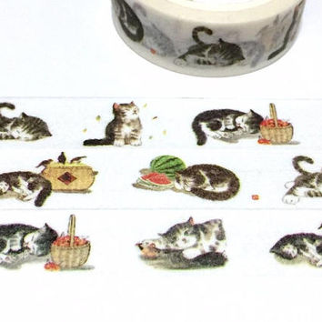 Cute Cat Washi tape 5M lazy cat lying cat sleepy cat meow meow masking sticker tape watermelon straw basket cozy day cat planner cat gift