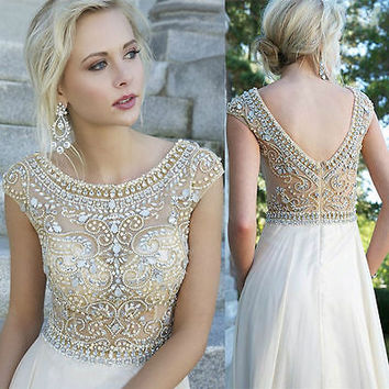 Long Gold Bead Prom Ball Dresses Formal Evening Gown Stock Size 2 4 6 8 10 12