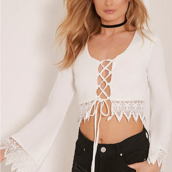 White Long Sleeve Lace Up Crop Top