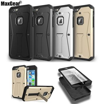 3 in 1 Armor Kickstand Case for iPhone 5 5S SE 6 6S Plus Cover Water Resist Full-body Protect with Built-in Screen Protector