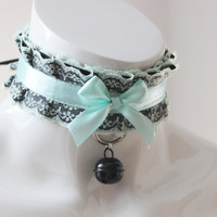 Kittenplay bdsm proof collar - Laced mint berry -  white and green - ddlg princess petplay kink choker w leash ring - cute kitten play gear