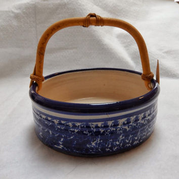 Hand Thrown Blue Pottery Tray with Bamboo Handle