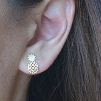 Cute Little Pineapple Stud Cut Out Earrings Simple Fun Fruit Minimal Hipster Earrings