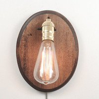 Oval Wall Sconce- Rustic Wall Sconce, Wood Lamp, Exposed Edison Bulb Lighting, Rustic Night Light, Desk Lamp