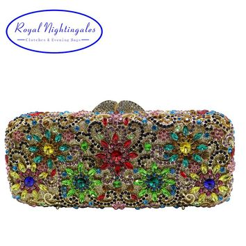 Flower Clutch Purse Luxury Women Crystal Evening Clutch Bags