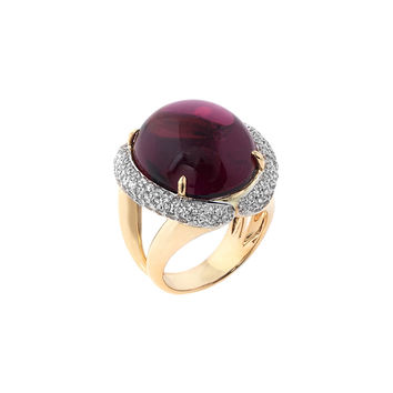Estate Pave Diamond & Rubellite Cocktail Ring