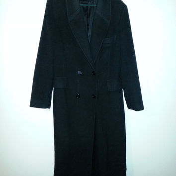 Vintage 60s Womens Lingenfelter-Brill Black Pure Wool Trench Coat