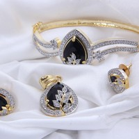 American Diamond and Black Stone Embedded Combo of Pendant with Earrings, Bracelet and Ring