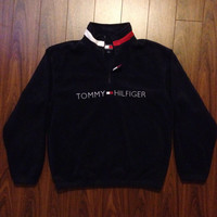 Vintage 90's Tommy Hilfiger Fleece size M Navy Blue quarter zip