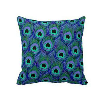 Throw Pillow peacock feather print from Zazzle.com