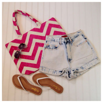 Spring/Summer Fun High Waisted Bleached Denim Shorts