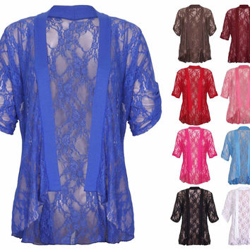 NEW WOMENS BIG CURVE PLUS SIZE US 10-24 FLORAL LACE OFFICE CASUAL SHRUG CARDIGAN