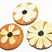 Decorative Beige Flower Cork Magnets - 3 Pack!