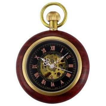 Unique Craft Wooden Wood Case Open Face Roman Steampunk Skeleton Mechanical Pocket Watch Jewel Chain Hand Winding Clock /WPK231