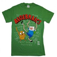 Adventure Time Finn & Jake ALGEBRAIC GREEN Adult Licensed T-Shirt XL