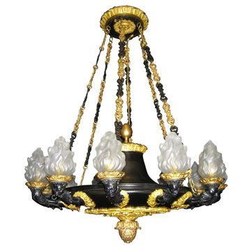 Spectacular Neoclassical Antique French Empire Style Gilt Bronze Chandelier