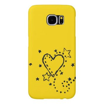 Yellow Heart Doodle Samsung Galaxy S6 Case Samsung Galaxy S6 Cases