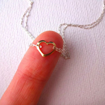 Handmade Micro 14k Gold Fill Heart Charm & 925 Sterling Silver Double Chain Anklet or Bracelet - Deconstructed; Unique Modern Jewelry