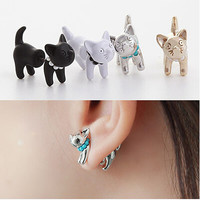 2015 New Arrival Cute Pearl Kitty Cat Stud Earrings set for Women Girl White Black Gold Silver 4 Colors