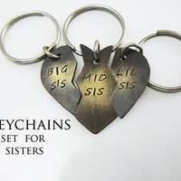 Lil Sis, Big Sis, Mid Sis, Broken Heart Keychain, Set of 3, Gift for Sisters, Hand Stamped, Personalized Christmas Gift