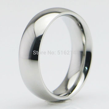 Womens Mens 5MM / 6MM / 7MM / 8MM Wide 316L Stainless Steel Classic Plain Wedding Band Ring Polished Charm Jewelry Size 5-15