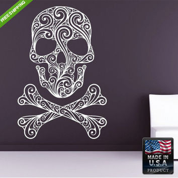 Wall Decal Mural Sticker Beautyfull Cute Sugar Skull Bedroom Curly bones modern fashion (z137)