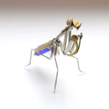 "Watch Parts Praying Mantis ""Mantis No 29"" Sculpture Recycled Mechanical Clockwork Mantis Mantid Watch Stems Faces Insect A Mechanical Mind"