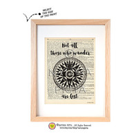 Not all those who wander are lost quote dictionary print-Mariner's Compass Dictionary print-Nautical print-Best friend print-by NATURA PICTA