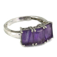 Sterling Silver Emerald Cut Amethyst Ring Three Stones Size 6