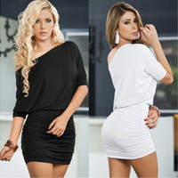 Sexy Women Short Sleeve Bandage Bodycon Pencil Evening Cocktail Party Club Dress [9305609863]