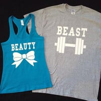 Free Shipping for US Beauty And The Beast Matching Couples Tank Tops/Shirts Turquoise/Light Grey Different Version
