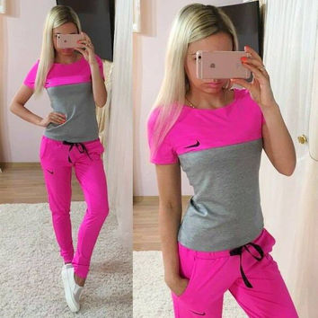 """NIKE"" Fashion Casual Multicolor Print Round Neck Short Sleeve Set Two-Piece Sportswear"