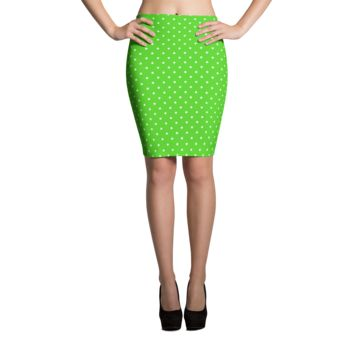 Green Polka Dot Pencil Skirt