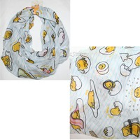 Licensed cool Sanrio Gudetama The Lazy Egg Bacon Blue Pinstripe All Over Print Infinity Scarf