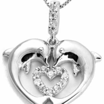 SOLID 14K WHITE GOLD SPARKLY HAWAIIAN SHINY 2 DOLPHINS CZ HEART PENDANT 16.5MM